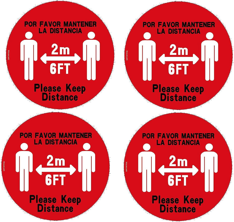 SET 4 Pegatinas Suelo Redondas Mantenga Distancia de seguridad 2 metros Dos idiomas Ingles y Espa/ñol Antideslizantes