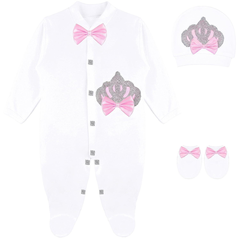 Lilax Baby Girl Newborn Crown Jewels Layette 3 Piece Gift Set