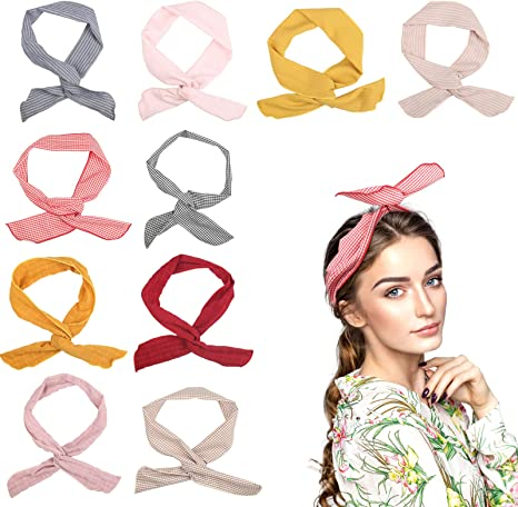 FOGAWA 8pcs Wired Headband for Women Girls Retro Head Scarf Wraps Hairbands Bunny Ears Hair Tie Hairband Headwear Twisted with Knot for Sport Yoga Daily Decor Use
