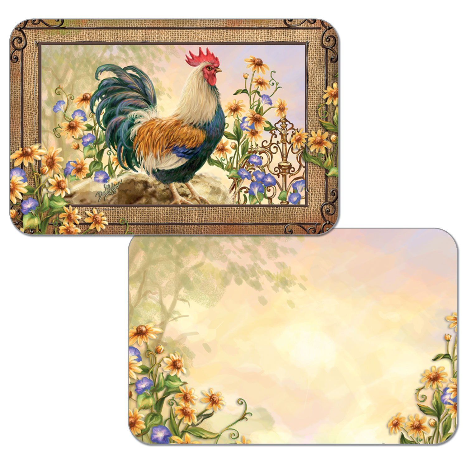 Set of 4 Reversible Placemats (Country Charm - Rooster)