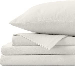 Great Bay Home Extra Soft 100% Turkish Cotton Flannel Sheet Set. Warm, Cozy, Heavyweight, Luxury Winter Deep Pocket Bed Sheets in Solid Colors. Nordic Collection (Queen, Pristine Ivory)