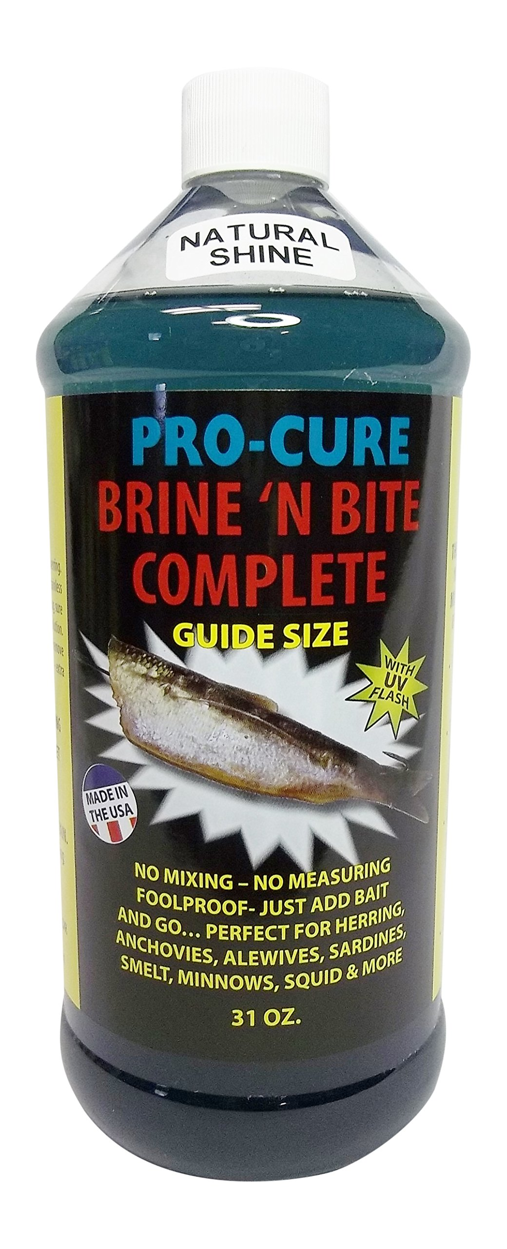 Pro Cure Brine 'N Bite Complete Bait Brine, 31 Ounce, Natural Shine