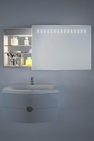 Armario de baño con puerta de espejo deslizante Gair con ...