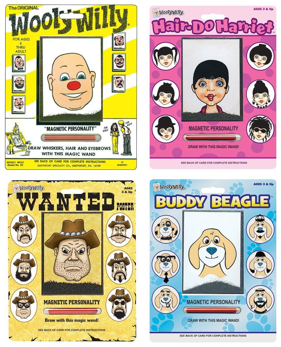 Playmonster Wooly Willy Bundle with Original, Buddy Beagle, Hair Do Harriet, and Wanted Poster (4 items) by PlayMonster