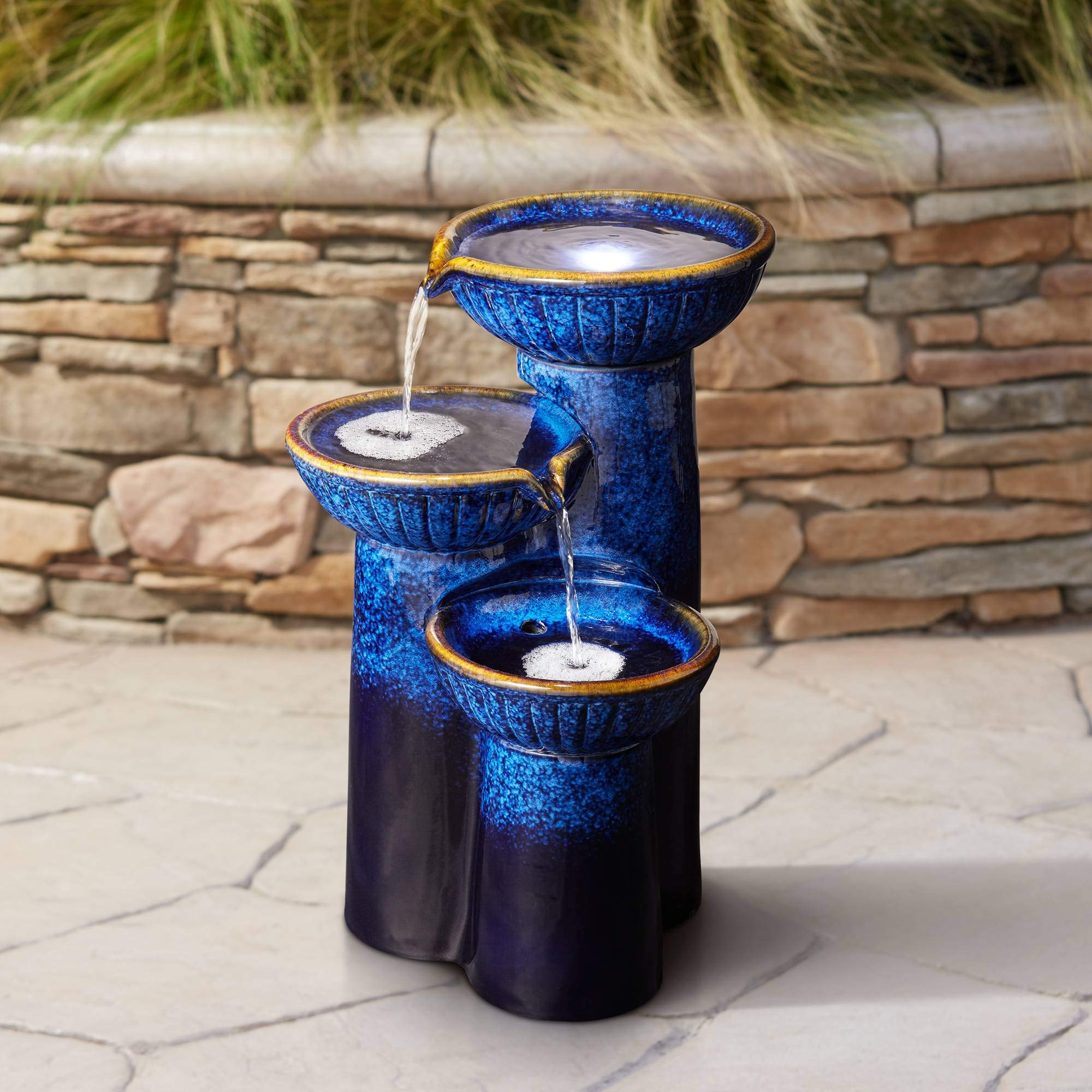 3 Bowl Modern Outdoor Floor Water Fountain with Light LED