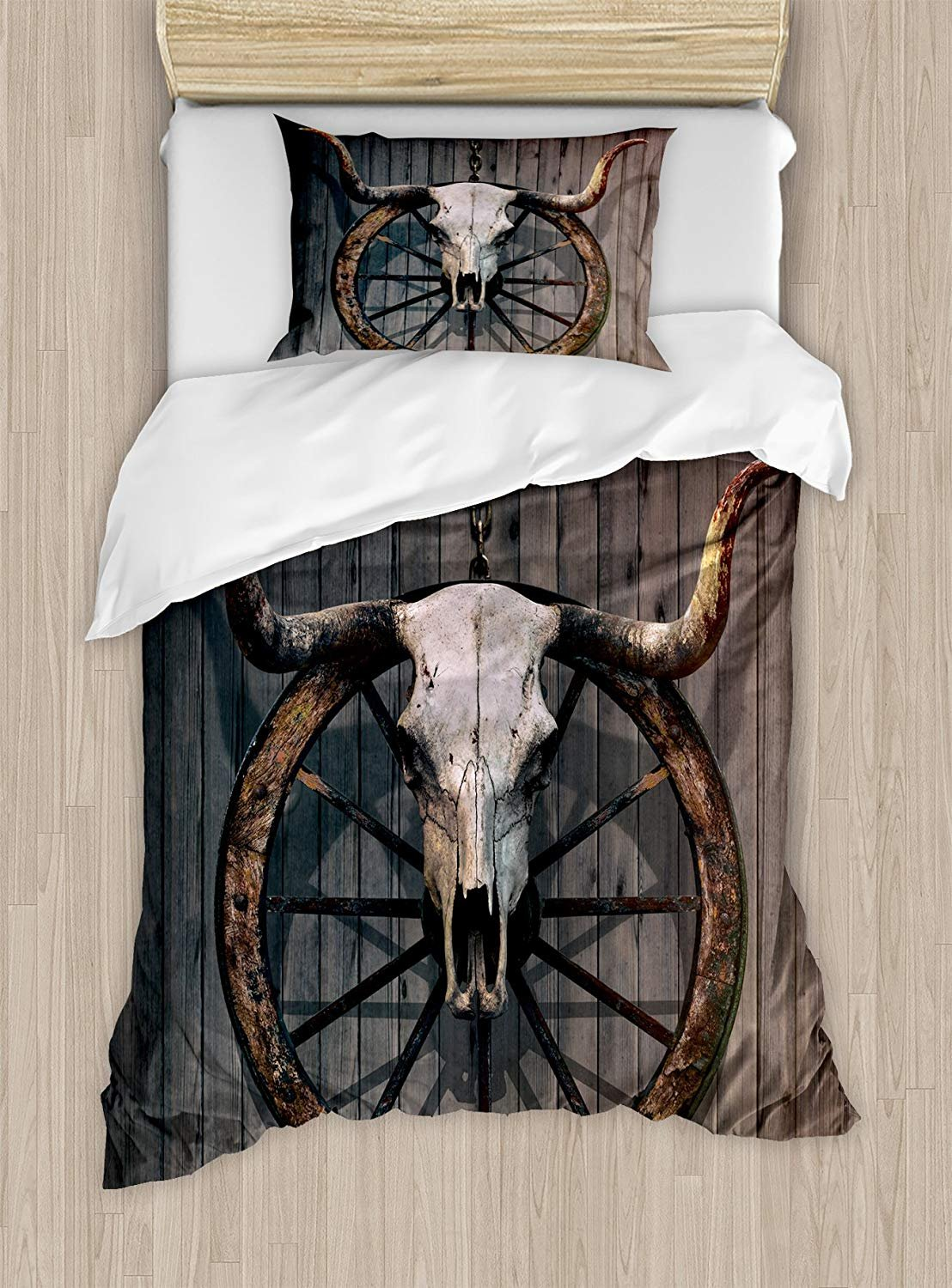 Fantasy Star Barn Wood Wagon Wheel Duvet Cover Set,Long Horned Bull Skull and Old West Wagon Wheel on Rustic Wall,Include 1 Flat Sheet 1 Duvet Cover and 2 Pillow Cases