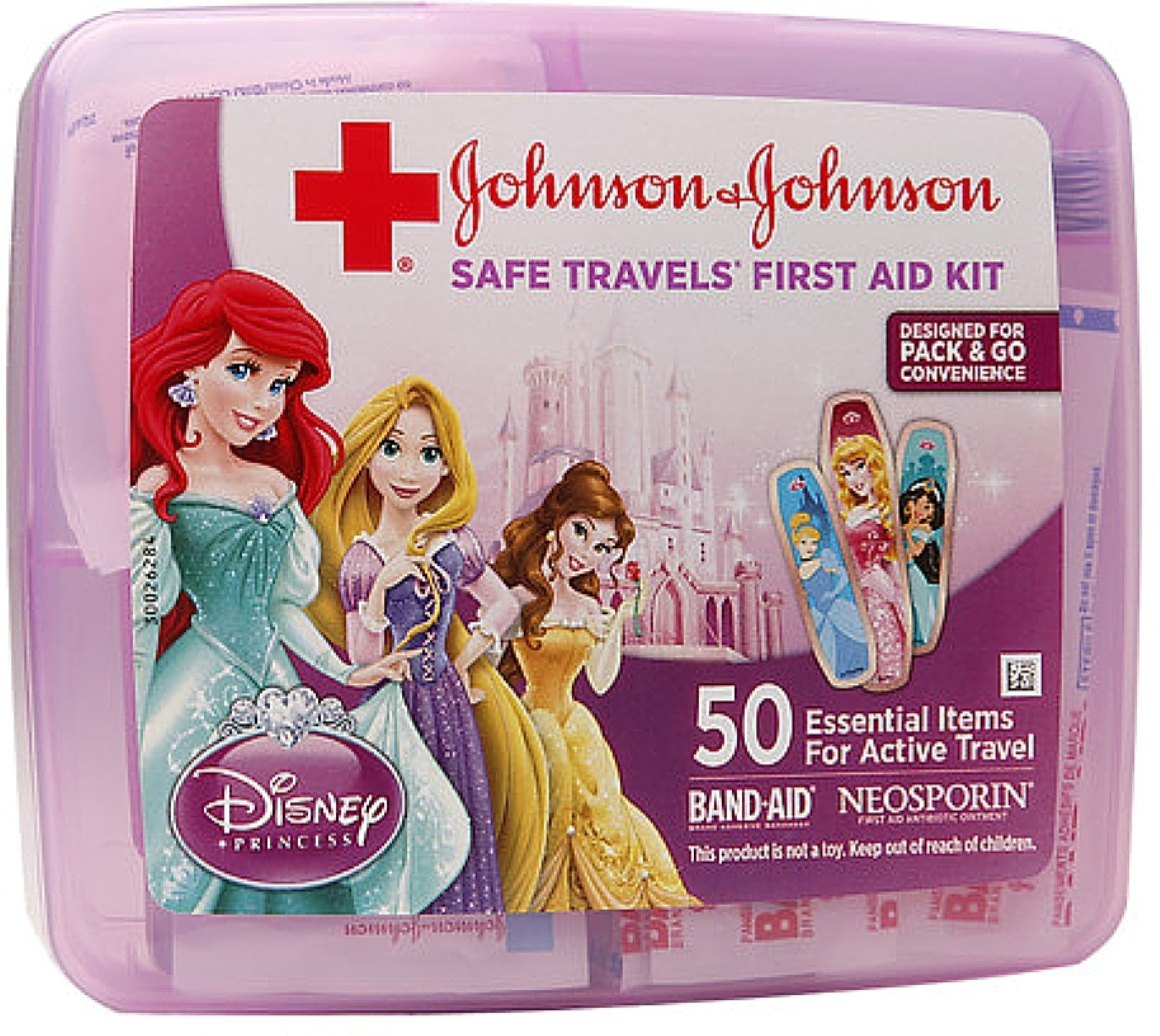 JOHNSON & JOHNSON Safe Travels 50 Essential Items First Aid Kit, Disney Princess 1 ea (12 Pack) by Pharmapacks (Image #1)