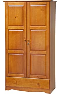 100% Solid Wood Universal Wardrobe/Armoire/Closet By Palace Imports, Honey  Pine