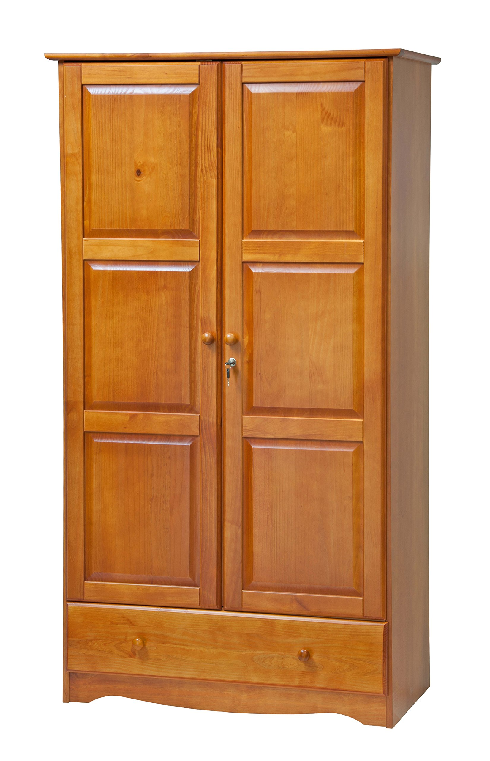 100% Solid Wood Universal Wardrobe/Armoire/Closet by Palace Imports, Honey Pine Color, 40''W x 72''H x 21''D, 2 Clothing Rods, 2 Shelves, 1 Lock, 1 Drawer Included. Additional Shelves Sold in Packs of 2.