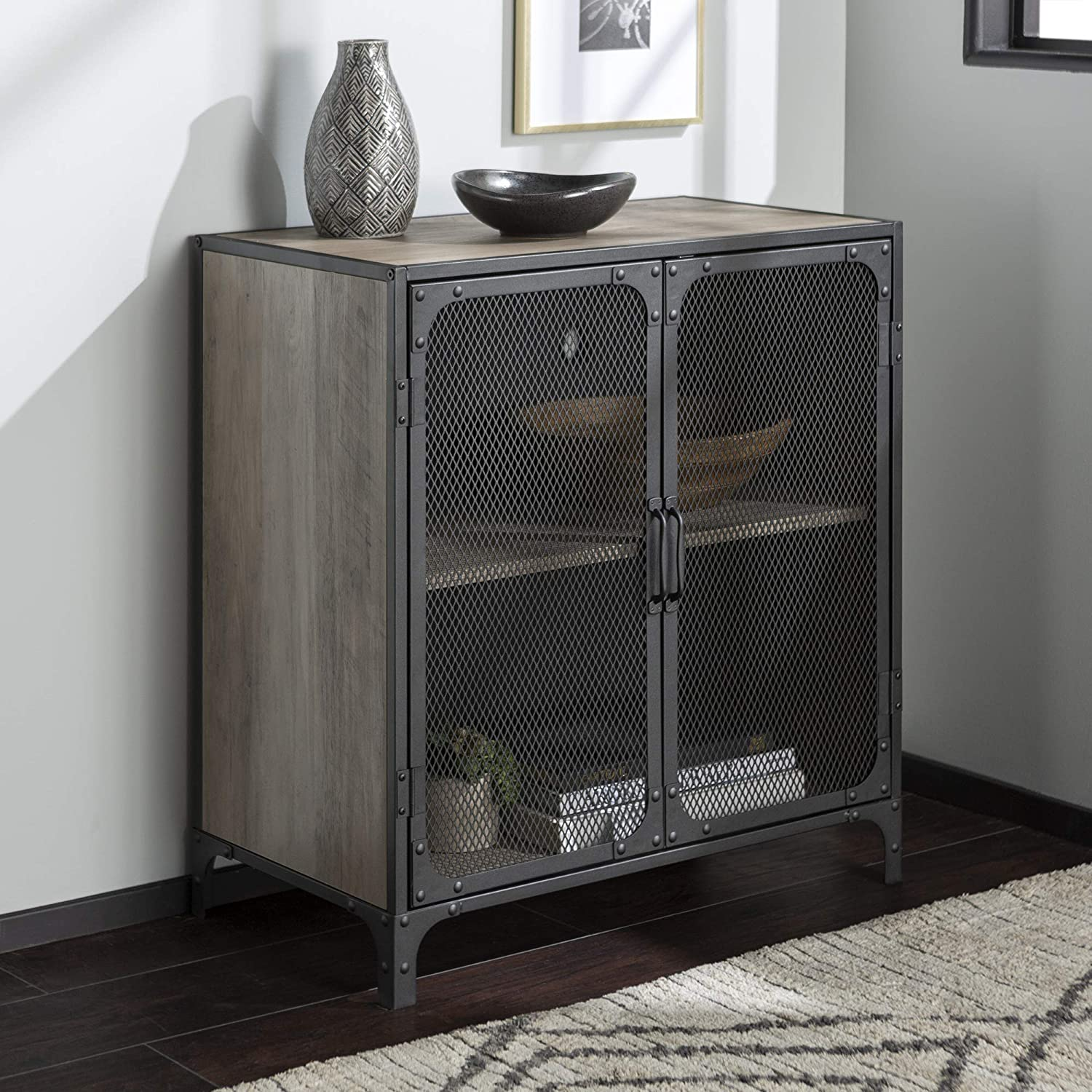 Walker Edison Industrial Metal Mesh Buffet Entryway Cabinet Doors Kitchen Dining Storage Living Room, 30 Inch, Grey Wash