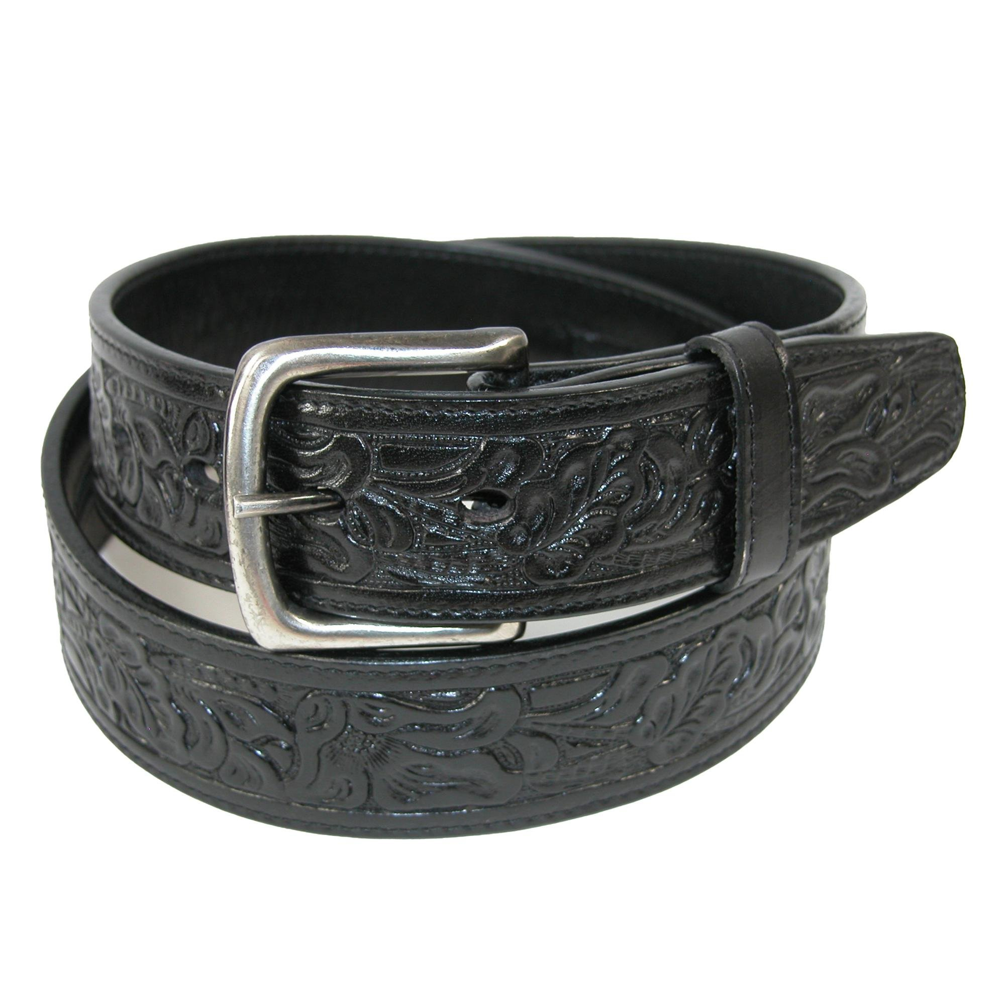 CTM Embossed Leather Money Belt with Removable Buckle, 34, Black