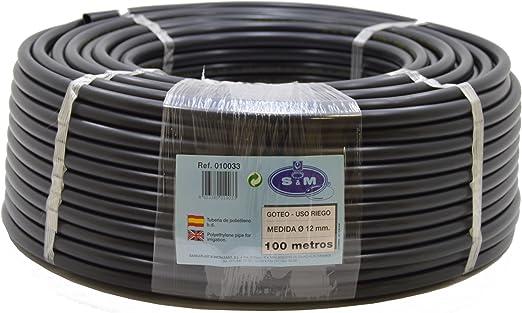 S&M 010033 Manguera para riego por Goteo, 12 mm x 100 m, Color Negro, 45.00x45.00x15.00 cm: Amazon.es: Jardín