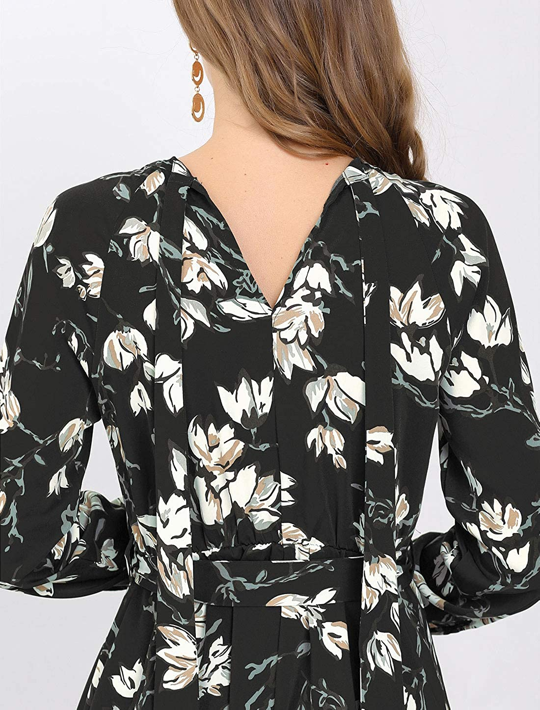 Allegra K Women's Vintage Chiffon Long Sleeves Keyhole Floral Print Belted Dress Black