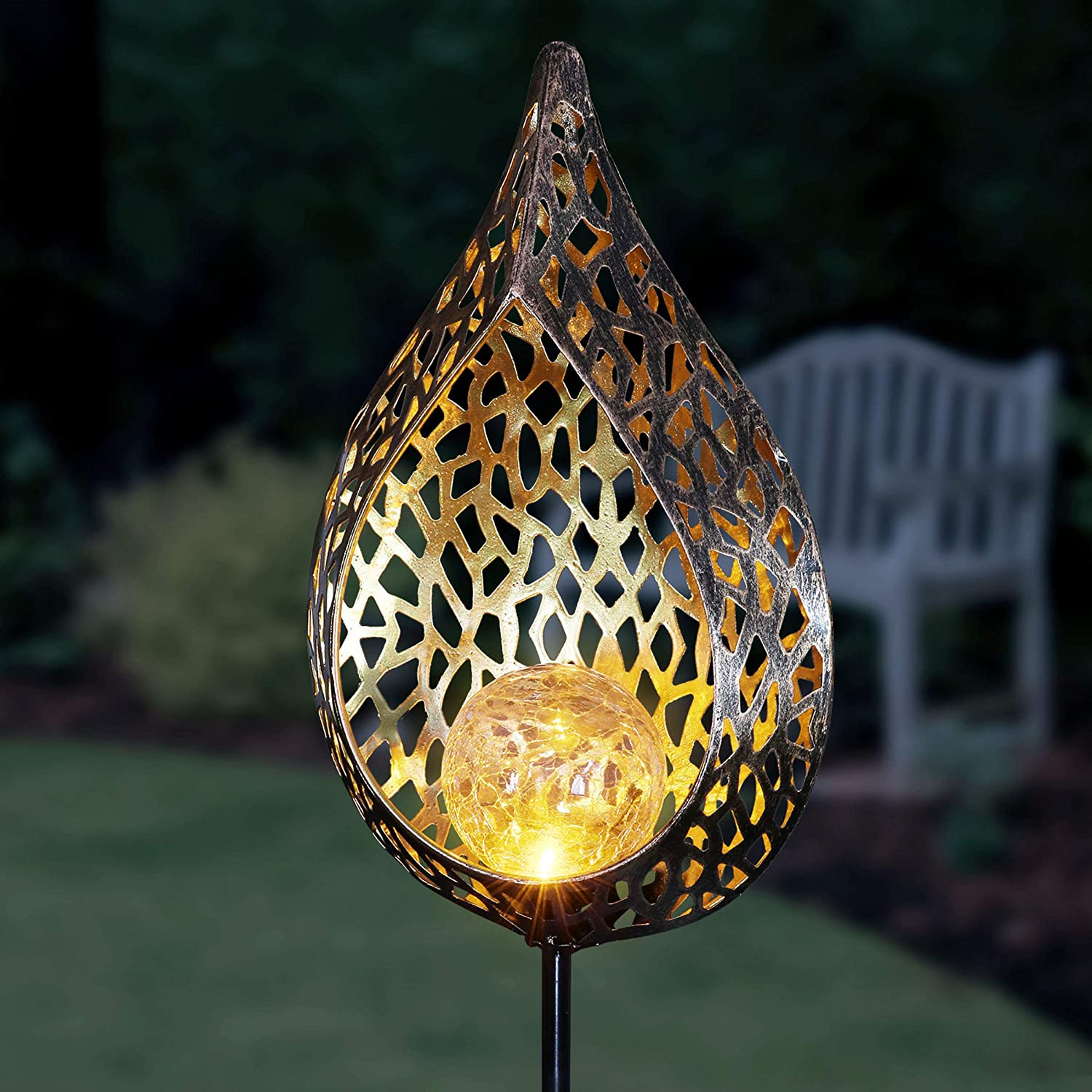 Exhart Solar Metal Filigree Full Flame Torch Garden Stake, 6.5 by 35.5 Inches