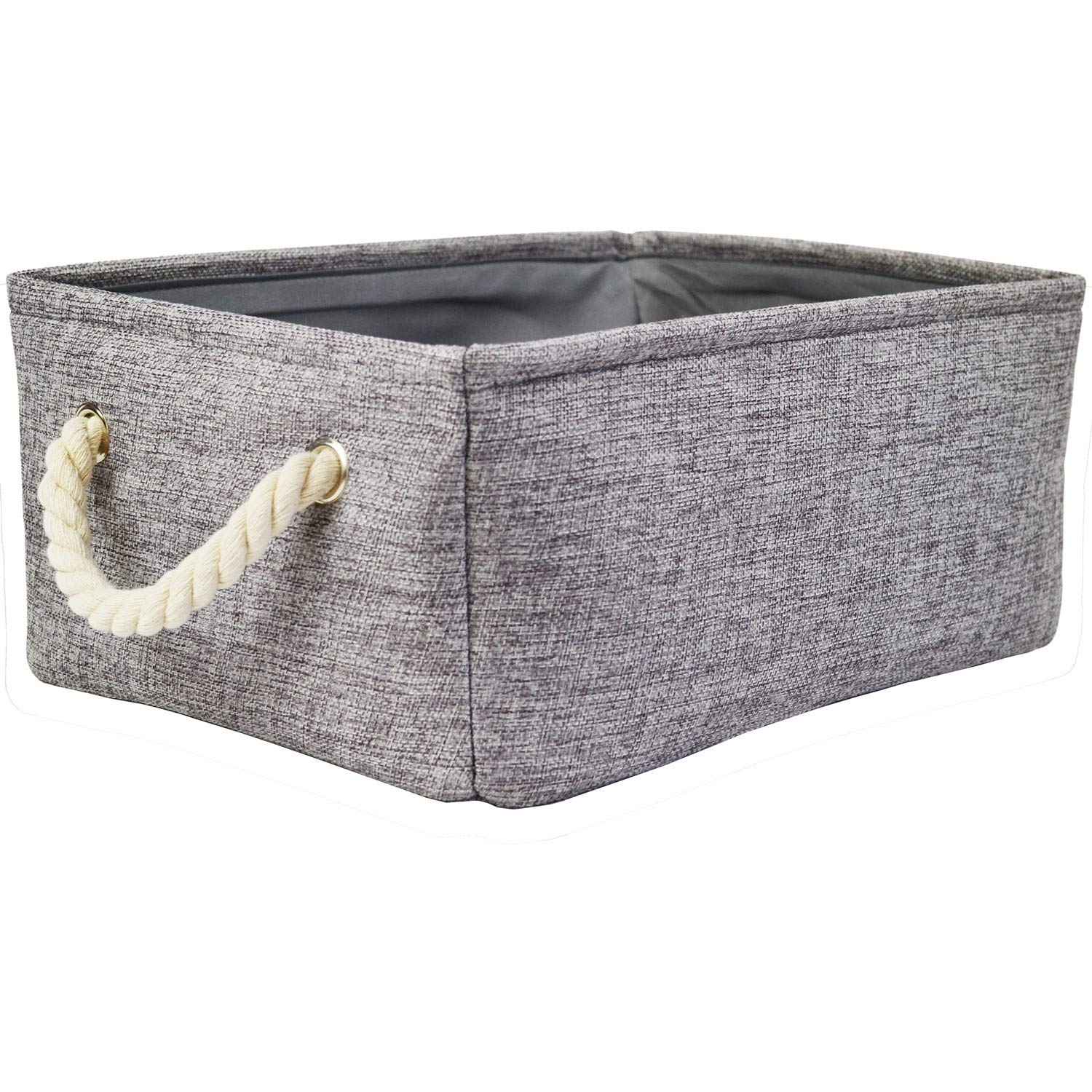 Grey Storage Baskets with Rope Handles, Fabric Decorative Baskets for Gift Empty Storage Bins for Shelves (16.5 x 12.4 x 6.5inch)
