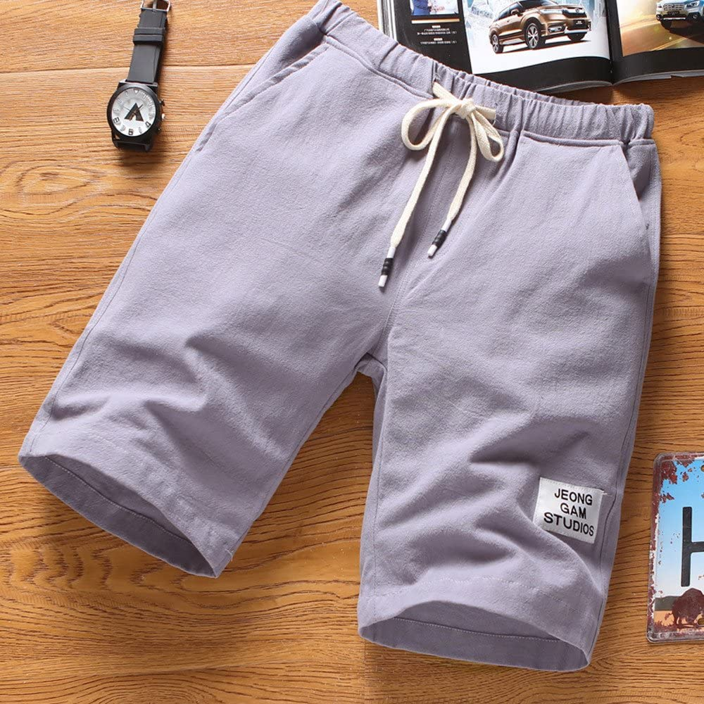 Fxbar Mens Beach Pants Sports Breathable Trousers Short Drawstring Pants