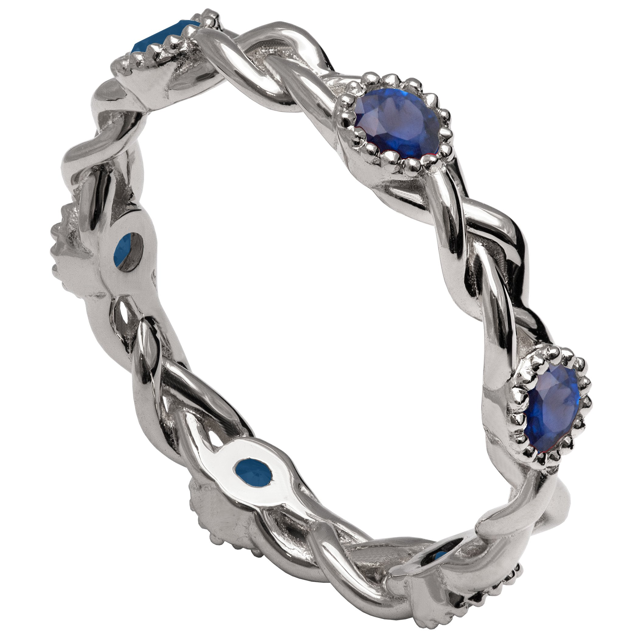 Solid 18K White Gold and Blue Sapphires Braided Eternity Wedding Ring For Women His and Hers Leaf Sets Promise Band Celtic Woven