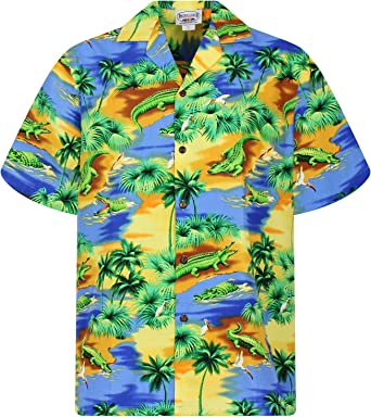 Pacific Legend | Original Camisa Hawaiana | Caballeros | S - 4XL | Manga Corta | Bolsillo Delantero | Estampado Hawaiano | Cocodrilos | Azul