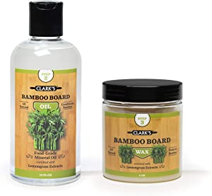 Bamboo Board Oil & Wax (2 Bottle Set) by CLARK'S | Includes CLARK'S Bamboo Board Oil (12oz) & CLARK'S Bamboo Finish Wax (6oz) | Lemongrass Extract Enriched