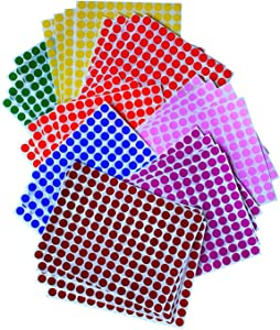 """Royal Green Kids Colored Round Dots 3/8 """" inch 8 Colors - 32 Sheets - 10mm - Arts, Crafts, Fun and Games Stickers - 4832 Pack"""