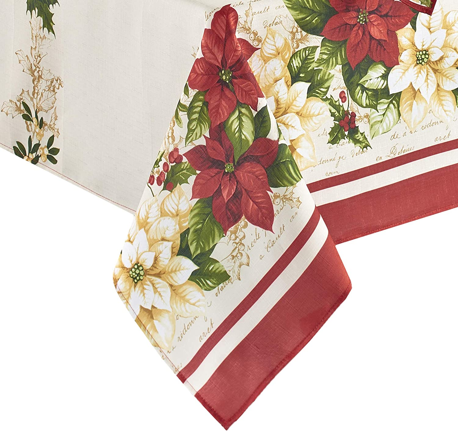 Elrene Home Fashions Red and White Poinsettias Holiday Tablecloth Multi 52 x 70