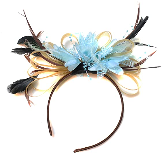 Gold and Baby Blue Fascinator Light Net Hoop Feather Hair Headband ... 56f735089a5