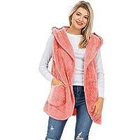 NANAVA Women's Open Front Hooded Faux Fur Side Pockets Cocoon Slouchy Vest