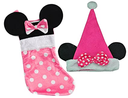 2634ff0b5e8c0 Image Unavailable. Image not available for. Color  Disney Minnie Mouse  Girls Pink Velour Big Ears Christmas Stocking   Matching Santa Hat!