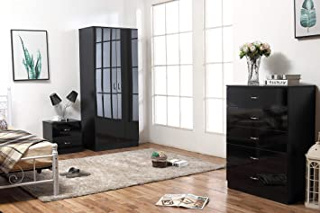 Harmin Ltd HIGH GLOSS 3 PIECE Bedroom Furniture Set - Wardrobe, 5 drawer  Chest & Bedside (Black on Black)