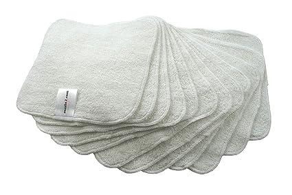 MuslinZ® 12 toallitas de bambú de algodón de rizo, 20 x 20 cm,