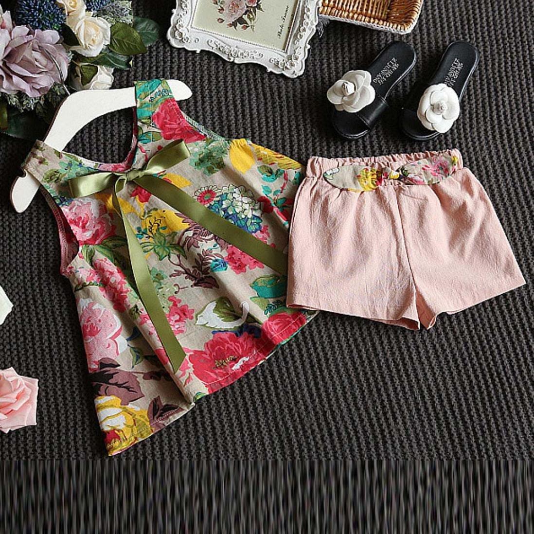 Vestidos niñas, Switchali Niños Bebé Niña Verano moda blusas chaleco floral camisa + bowknot Pantalones cortos Conjunto de ropa de fiesta para chica casual ...