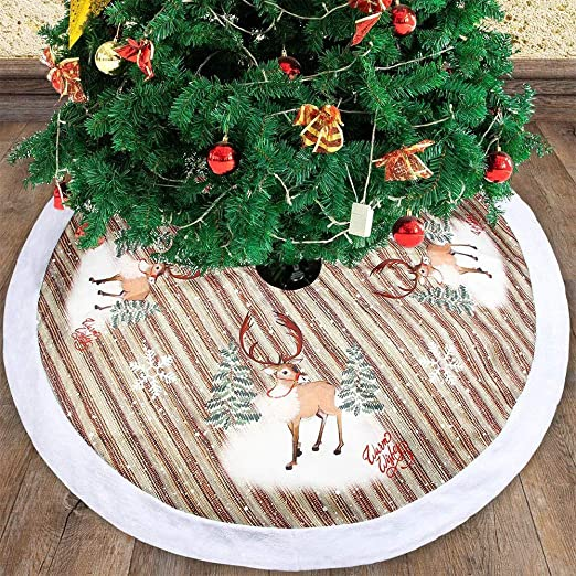 """Red With White Trim Plush Tree Skirt 38"""" *Ships From USA"""