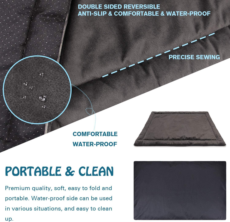 Allisandro Dog Bed Cat Pad M 80x60cm Waterproof Washable Mattress Soft Warm Pet Fleece Cushion Mat Deep Grey