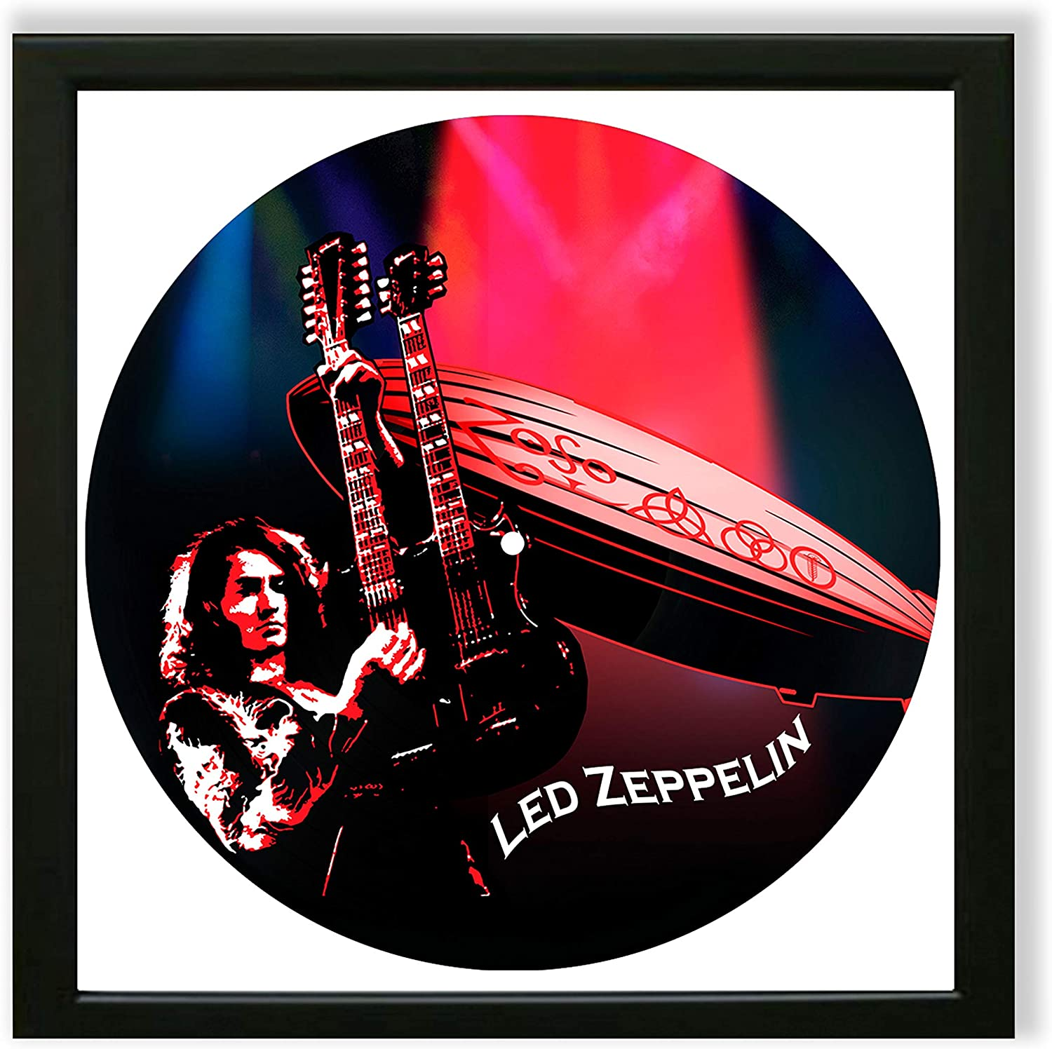 """Led Zeppelin Vinyl Frame Décor 14""""x14"""", Wall Framed Decor Painted Led Zeppelin, Original Gifts for Music Lovers, The Best Gift for Souvenirs, Unique Wall Art Home Decor"""