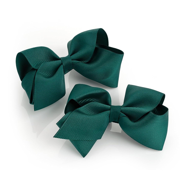 2 x Bottle Green Grosgrain Hair Bows on Clip - 10 cm Chelsea Jones