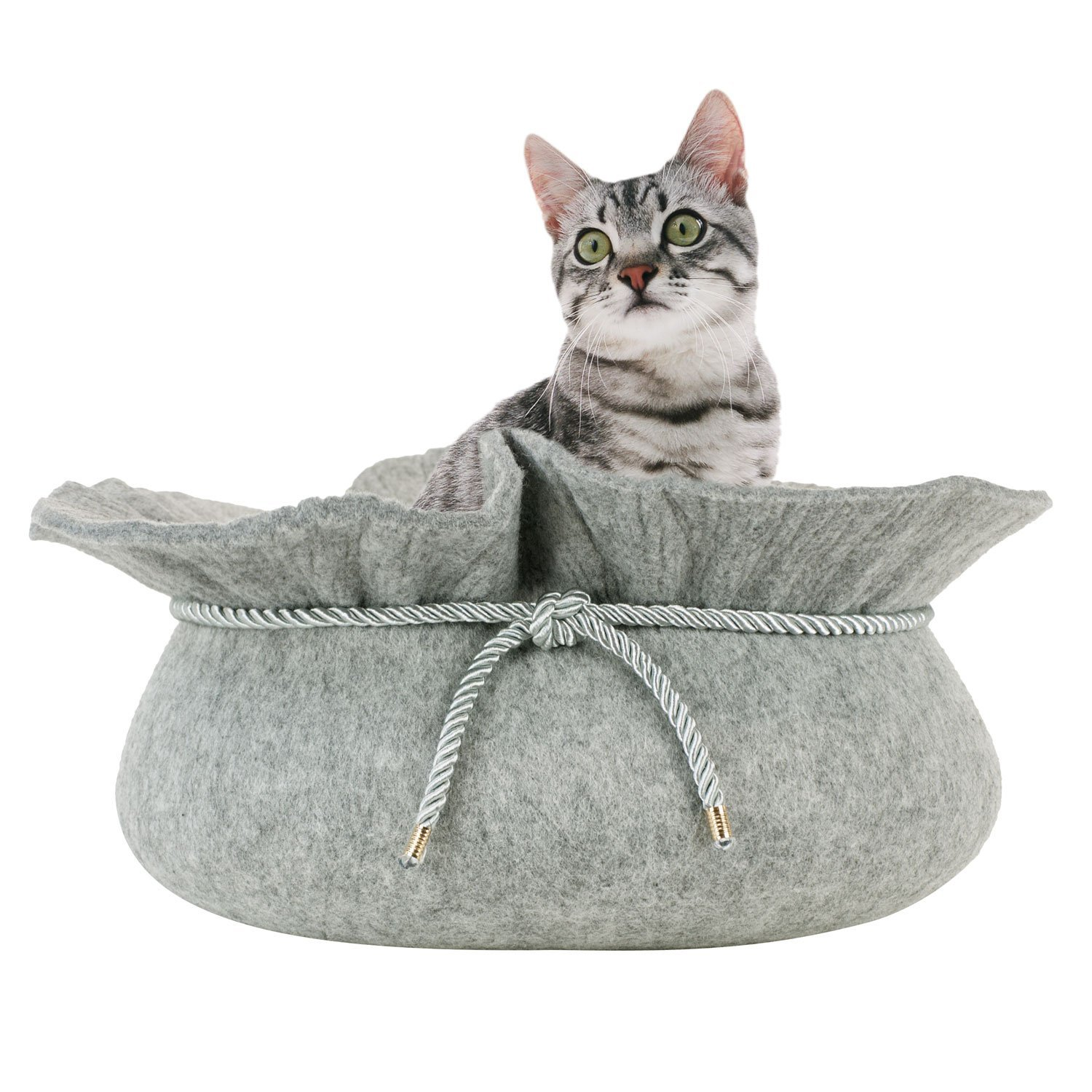 FrontPet Felt Cat Bed Cave Pod, 15 inches x 8 inches, Grey