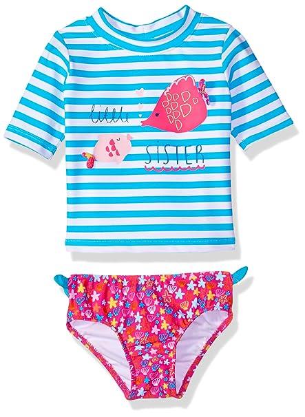 d32d4226ae32f KIKO & MAX Girls' Swimsuit Set with Short Sleeve Rashguard Swim Shirt,  Little Sister