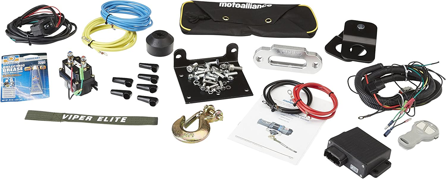 MotoAlliance VIPER Elite ATV//UTV Winch 3000lb with 40 feet BLUE Synthetic Rope and Wireless Remote