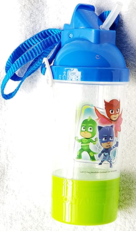 PJ Masks Water Bottle - Rock N Sip Snack Canteen Water Bottle with Removable and Adjustable