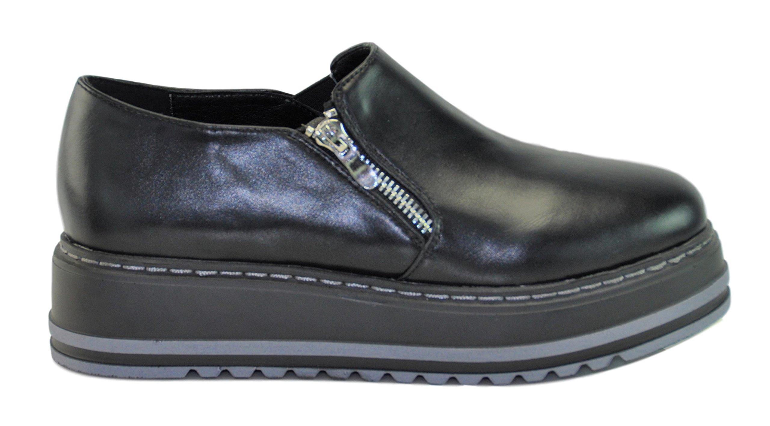 Lynda Black Quality Prime Fashion Slip On Clearance Sale High Heel Creeper Platform Wedge Summer School Oxford Zapatos de Plataforma para Ninas for Youth Teen Girls Women Mujer (Size 5.5, Black) by BDshoes (Image #2)