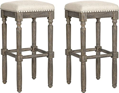 Ball Cast Kitchen Pub Height Bar Stool, 30 Inch,Set of 2, Taupe