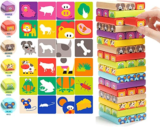 Magicwand 51 Pcs Innovative Animal Stacking Wooden Blocks Game for Kids with Cards