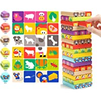 Magicwand Innovative Animal Stacking Wood Blocks Game for Kids with Cards (51 Pieces)