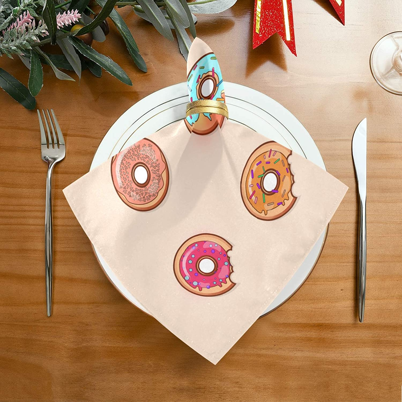 50,8 x 50,8 cm, 4 unidades JinDoDo Servilletas de sat/én con dise/ño de donuts