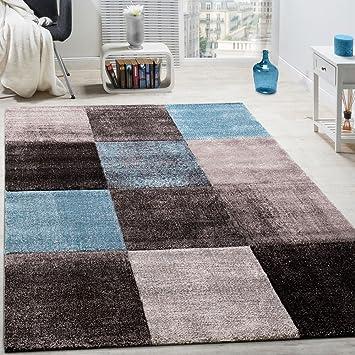 Paco Home Designer Teppich Karo Muster Wohnzimmer Teppich Hochwertig In  Türkis Grau Blau, Grösse: