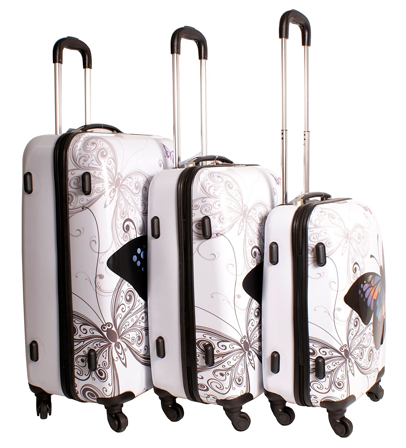 2408 Butterfly White Suitcase Multicolour Design Set of 3 ...