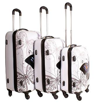 Maleta blanca con mariposa, diseño multicolor, juego de 3 maletas. Super ligera de 4 ruedas. Juego de equipaje funky. Plástico rígido: Amazon.es: Equipaje