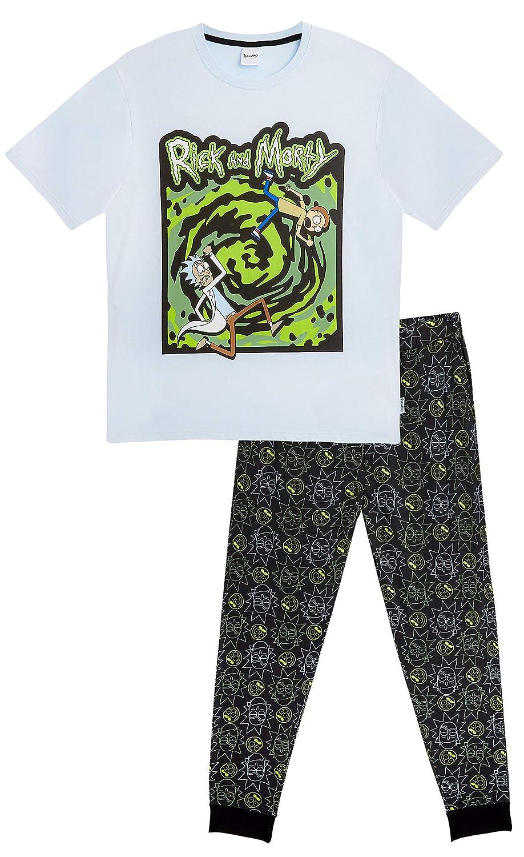 Rick and Morty Pijama Hombre Invierno Algodon 100%, Conjunto de Dos Piezas Camiseta y Pantalon Largo, Diseño Rick y Morty, Regalos para Hombres Adolescentes (Negra/Azul Portal, M): Amazon.es: Ropa y accesorios