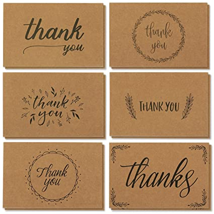 Amazon Com Thank You Cards 36 Count Thank You Notes Kraft Paper