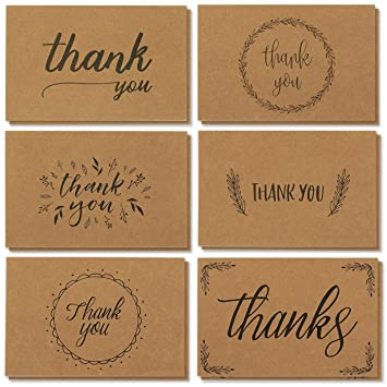Amazoncom Thank You Cards 36 Count Thank You Notes Kraft Paper
